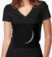Moon - Waxing Crescent Women's Fitted V-Neck T-Shirt