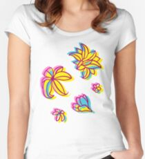 Vivid Summer with Colorful Tropical Flowers  Women's Fitted Scoop T-Shirt