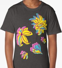Vivid Summer with Colorful Tropical Flowers  Long T-Shirt