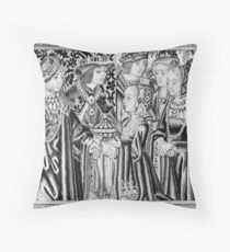 Medieval Courtly Scene Throw Pillow