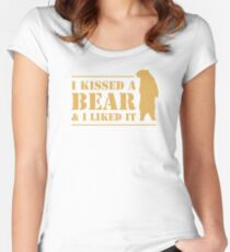 I Kissed A Bear And I Liked It Cool Graphic Women's Fitted Scoop T-Shirt