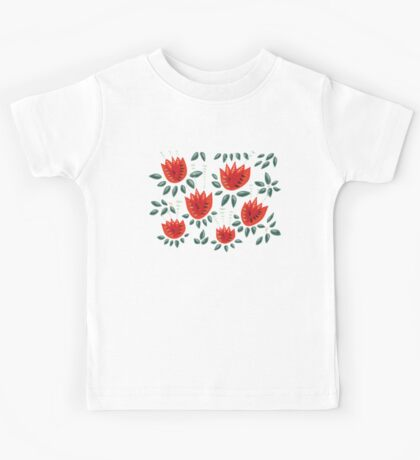 Beautiful Red Abstract Tulip Pattern Kids Clothes