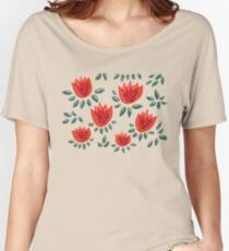 Beautiful Red Abstract Tulip Pattern Women's Relaxed Fit T-Shirt