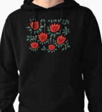 Beautiful Red Abstract Tulip Pattern Pullover Hoodie