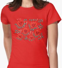 Beautiful Red Abstract Tulip Pattern Womens Fitted T-Shirt