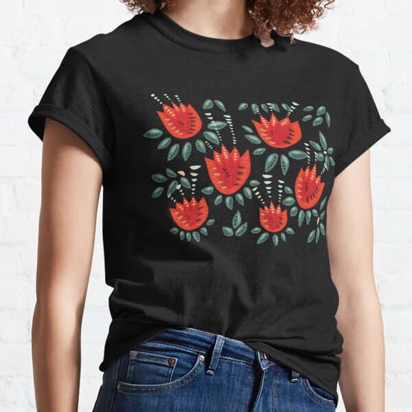 Beautiful Red Abstract Tulip Pattern Classic T-Shirt