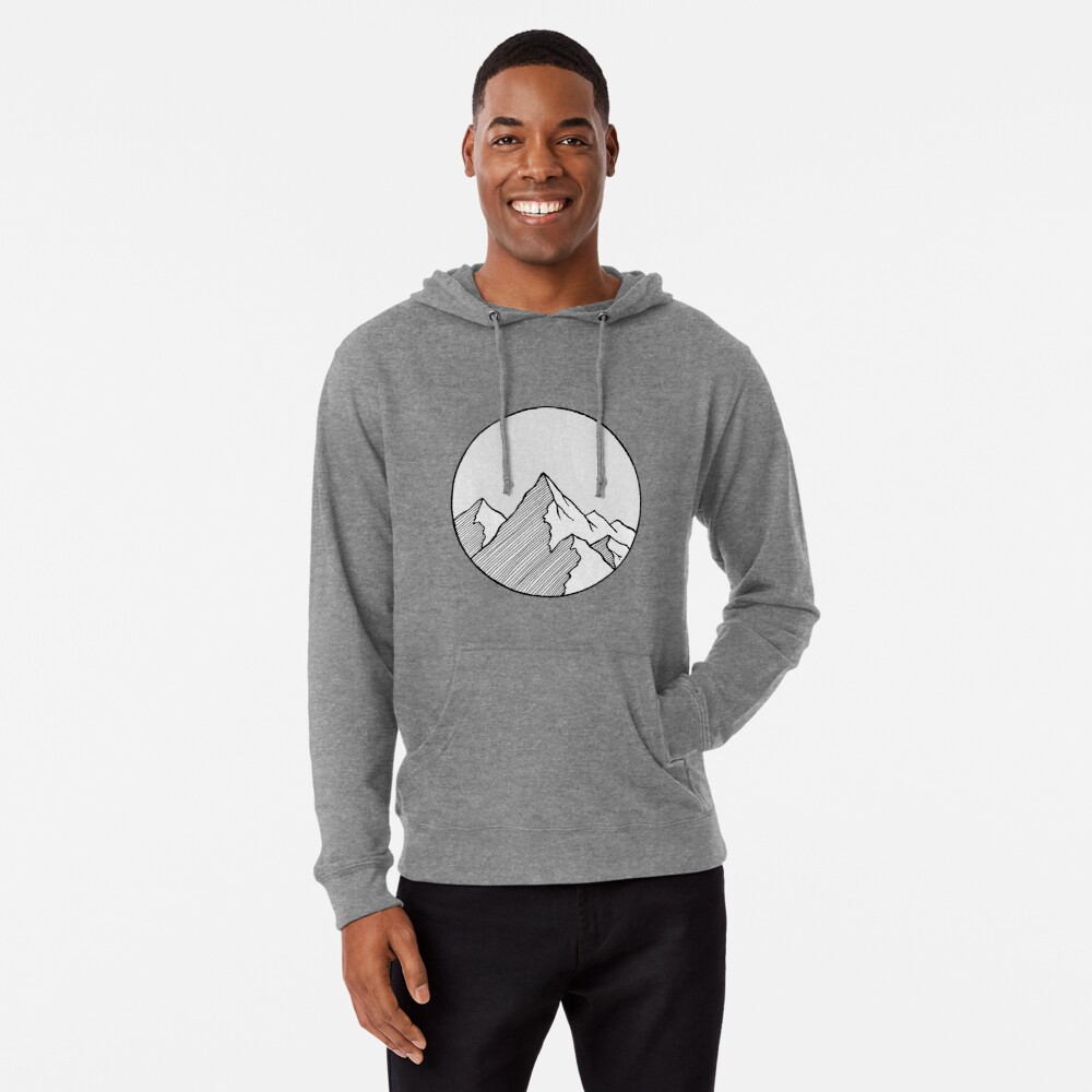 Mountains Sketch Lightweight Hoodie