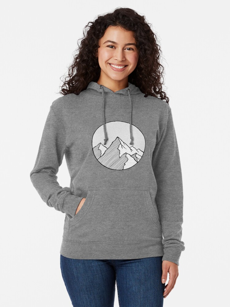 Alternate view of Mountains Sketch Lightweight Hoodie