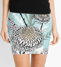 Graphic Asian Tattoo Style Flower Blossoms Mini Skirt