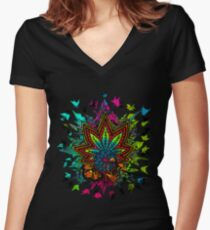 Plant Medicine Women's Fitted V-Neck T-Shirt