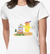 Chicken painter and easter egg Womens Fitted T-Shirt