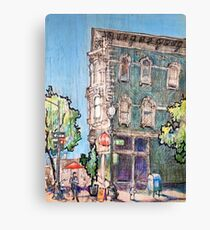 Red umbrella on 9th Street Canvas Print