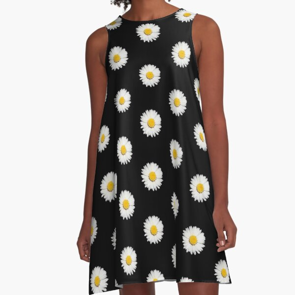 Nine Common Daisies Isolated on A Black Background A-Line Dress