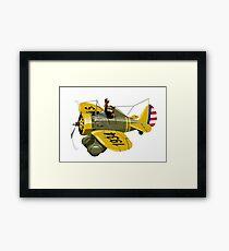 Cartoon Retro Fighter Plane Framed Print