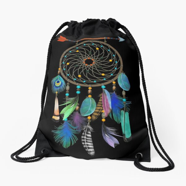Watercolor Feathers Dream Catcher Drawstring Bag