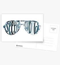 see the world sunglasses waves Postcards