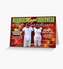 Mormon Underwear - X-Mas Gift Certificate! Greeting Card