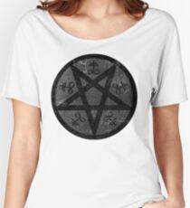 eVIL pENTAGRAM , bLACK mETAL sATANIC t-SHIRT,oCCULt  FAShIOn Women's Relaxed Fit T-Shirt