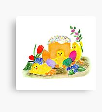 Chicken and easter eggs Canvas Print