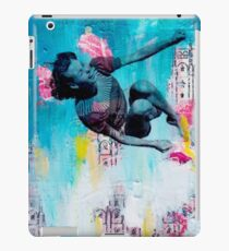 flying high.  Vintage photo of girl flying in a city scape iPad Case/Skin