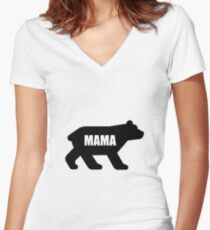 Mama Momma Bear Women's Fitted V-Neck T-Shirt