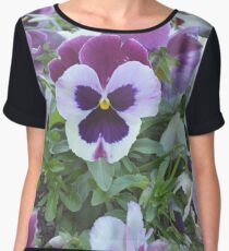 White and Purple Pansy Bed Chiffon Top
