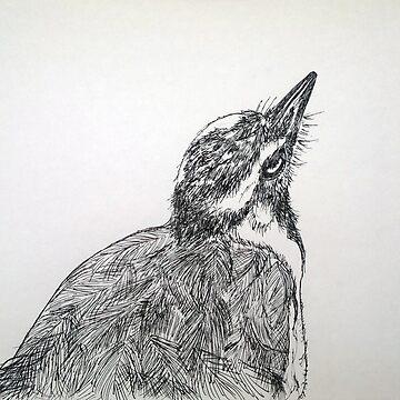 Magpie Lark Print Oriental Zen Minimalist - Sumie ink australian bird, nature, feather, black, white, gray, animals, outdoors, wildlife, minimal, abstract, zen, meditative by arteivanna