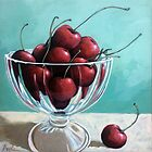 Bowl of Cherries - realistic still life food art original painting by LindaAppleArt