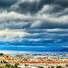 View of Messina Strait, Sicily,  with dramatic sky by Silvia Ganora