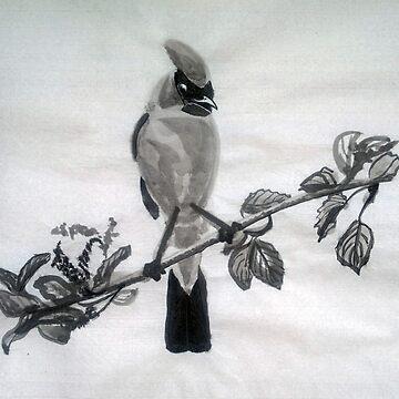 Ampelis Americano Spring Bird Print Oriental Zen Minimalism - Sumi e ink, nature, feather, black, white, gray, animals, outdoors, wildlife, minimal, abstract, zen, meditative, birds on the branch by arteivanna