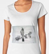 Ampelis Americano Spring Bird Print Oriental Zen Minimalism - Sumi e ink Women's Premium T-Shirt