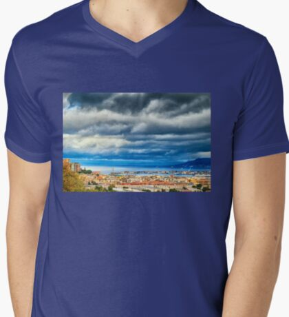 View of Messina Strait, Sicily,  with dramatic sky T-Shirt