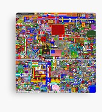 Reddit r/Place 12K Official r/TheFinalClean Cleaned Version – FINAL Revision, April 12th (Without Void) **Now with Waldo's/Wally's hat!** Canvas Print