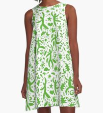 Cuban Salsa - green on white - contemporary dance pattern by Cecca Designs A-Line Dress