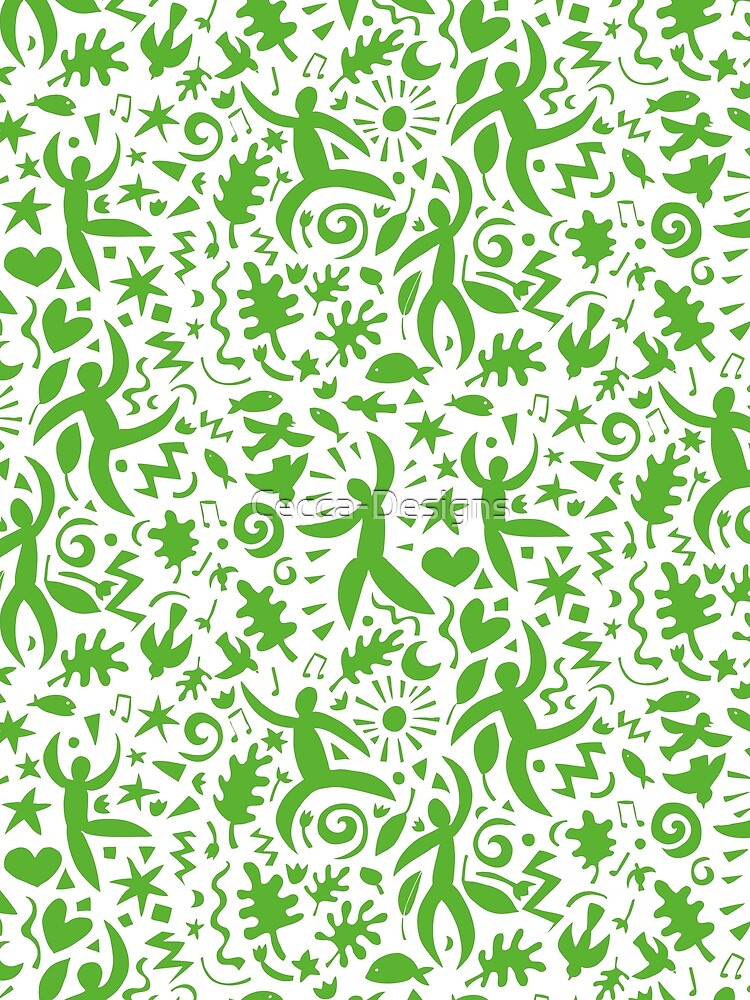 Cuban Salsa - green on white - contemporary dance pattern by Cecca Designs by Cecca-Designs