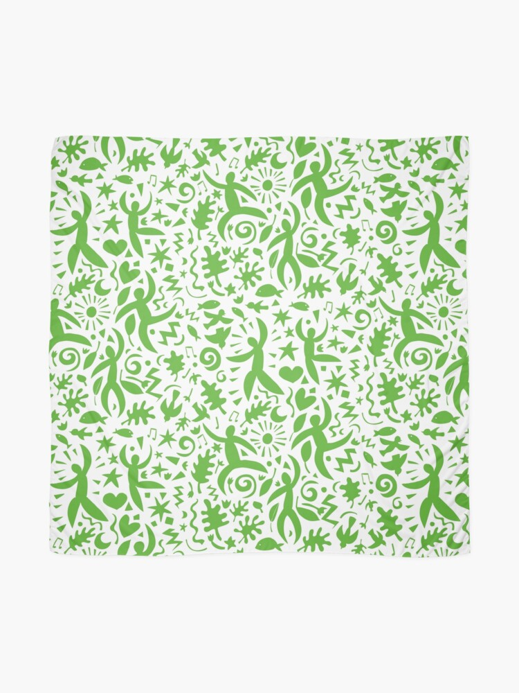 Alternate view of Cuban Salsa - green on white - contemporary dance pattern by Cecca Designs Scarf