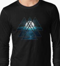 Sacred Geometry Triangles - Oceanic Moon  Long Sleeve T-Shirt