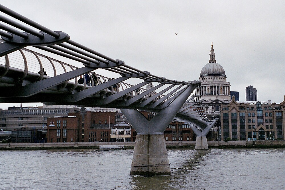 St Paul's Cathedral and Millenium Bridge, London by Leigh Penfold