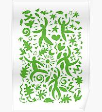 Cuban Salsa - green on white Poster