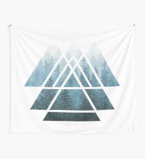 Sacred Geometry Triangles - Misty Forest Wall Tapestry