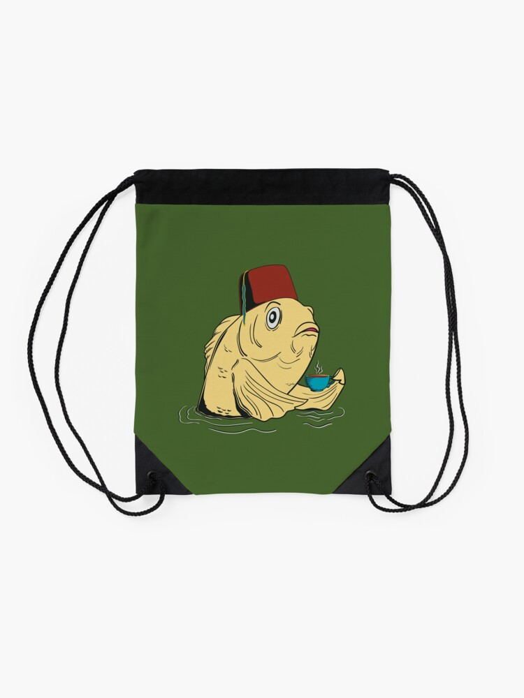 Alternate view of Night of the Cuppa Drawstring Bag