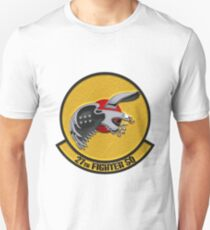 27th Fighter Squadron - 27 FS Patch over White Leather T-Shirt