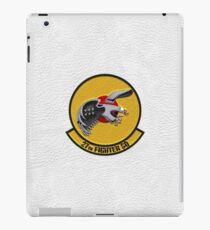 27th Fighter Squadron - 27 FS Patch over White Leather iPad Case/Skin
