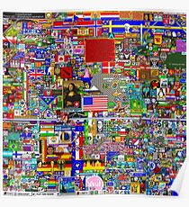 Reddit r/Place 12K Official r/TheFinalClean Cleaned Version – FINAL Revision, April 12th (With Void) **Now with Waldo's/Wally's hat!** Poster
