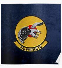 27th Fighter Squadron - 27 FS over Blue Velvet Poster