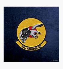 27th Fighter Squadron - 27 FS over Blue Velvet Photographic Print