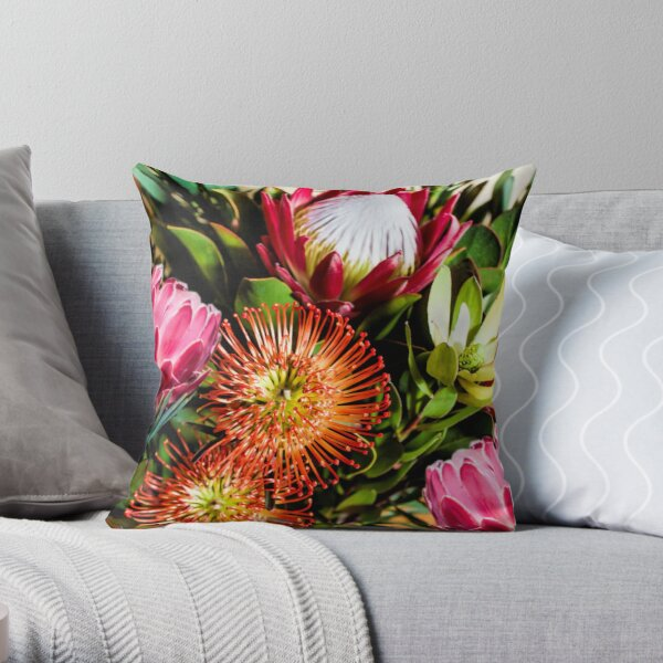 Colourful Protea Flowers in Loose Arrangement Throw Pillow
