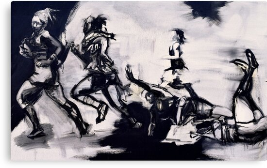 The Runners - Abstracted Sports Oil Painting by monochromerollr
