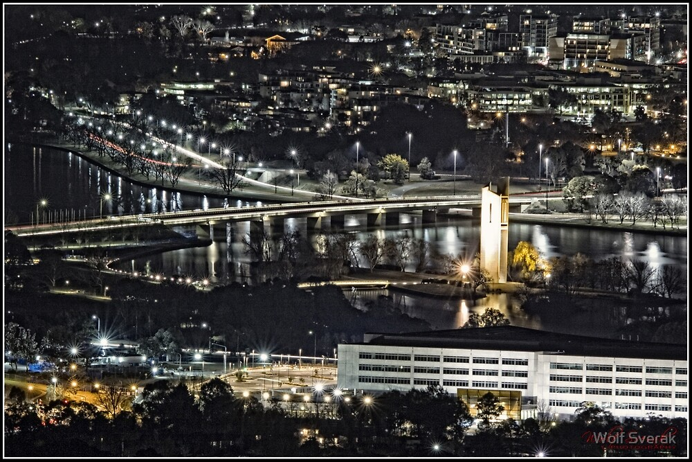 Canberra at Night - as seen from Mount Ainslie (2) by Wolf Sverak