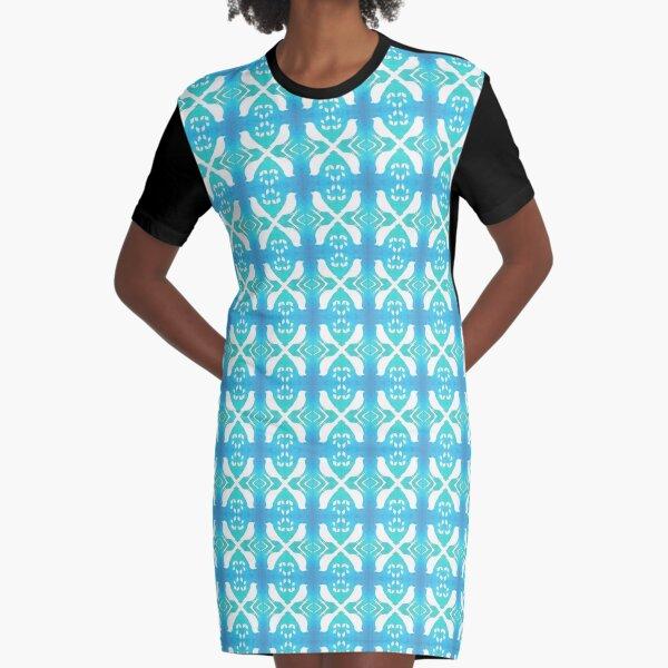 Bird Echo on Blue Graphic T-Shirt Dress